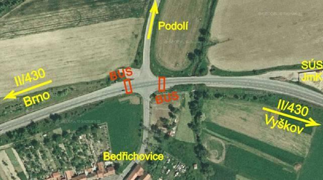 obrázek:obr 1 situace na ortofotomape cervene jsou vyznaceny zastav