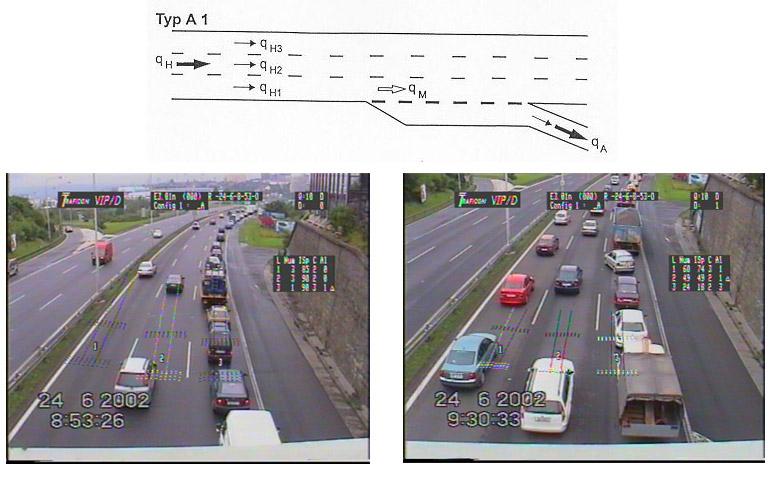 obrázek:obr 5 schema a zakladni realny videoobraz sledovaneho odbocova