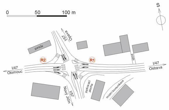 obrázek:obrazek 1 schema krizovatky silnic i 47 a i 57 se symbol